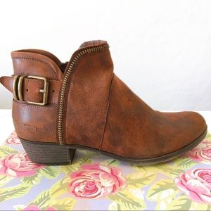 Shoes - Brown Leather Western Inspired Ankle Boots